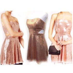 Forever 21 M Rose Gold Sequin Fit Flare Dress